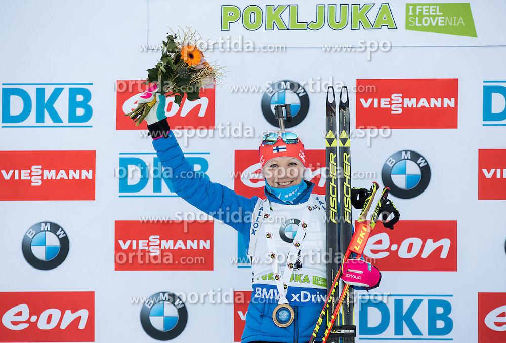 Kaisa Makarainen (FIN) celebrates at medal ceremony after winning  during Women 12.5 km Mass Start at day 4 of IBU Biathlon World Cup 2015/16 Pokljuka, on December 20, 2015 in Rudno polje, Pokljuka, Slovenia. Photo by Vid Ponikvar / Sportida