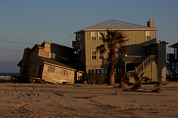 Stock photo of a large beachfront home damaged by Hurricane Ike