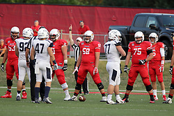 02 September 2017:   Donavin O'Day, Matt Hawkins, Dylan Banks, Chad Kanugh, Matt Packowski, Dean Helt, Chad Burdo, Jared Rients, Jake Kolbe all take their positions  during the Butler Bulldogs at  Illinois State Redbirds Football game at Hancock Stadium in Normal IL (Photo by Alan Look)