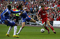 Photo: Paul Thomas.<br /> Liverpool v Chelsea. UEFA Champions League. Semi Final, 2nd Leg. 01/05/2007.<br /> <br /> Joe Cole (C) of Chelsea fouls Steven Gerrard, which sets up Liverpool's first goal.