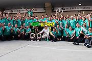 April 10-12, 2015: Chinese Grand Prix - Mercedes celebrate Lewis Hamilton (GBR), Mercedes's win in the Chinese Grand Prix