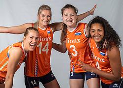 10-05-2018 NED: Team shoot Dutch volleyball team women, Arnhem<br /> Femke Stoltenborg #2 of Netherlands, Laura Dijkema #14 of Netherlands, Celeste Plak #4 of Netherlands, Yvon Belien #3 of Netherlands
