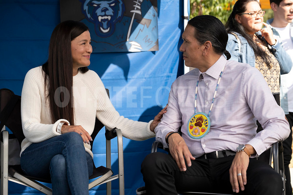 """RUTHERFORD FALLS -- """"Terry Thomas"""" Episode 104 -- Pictured: (l-r) Kimberly Guerrero as Shale, Michael Greyeyes as Terry Thomas -- (Photo by: Colleen Hayes/Peacock)"""
