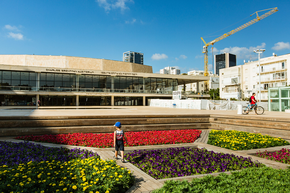 A child plays at the garden of Habima Square (or Culture Square) in Tel Aviv's Lev Hair neighborhood