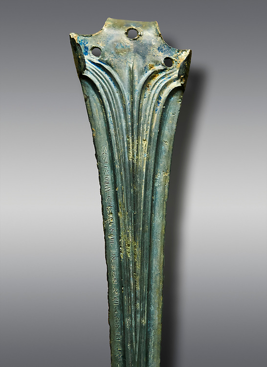 Hittite bronze decorated sword blade close up with writing. Hittite Period 1650 - 1450 BC.  Hattusa Boğazkale. Çorum Archaeological Museum, Corum, Turkey .<br />  <br /> If you prefer to buy from our ALAMY STOCK LIBRARY page at https://www.alamy.com/portfolio/paul-williams-funkystock/hittite-art-antiquities.html  - Type Hattusa into the LOWER SEARCH WITHIN GALLERY box. Refine search by adding background colour, place,etc<br /> <br /> Visit our HITTITE PHOTO COLLECTIONS for more photos to download or buy as wall art prints https://funkystock.photoshelter.com/gallery-collection/The-Hittites-Art-Artefacts-Antiquities-Historic-Sites-Pictures-Images-of/C0000NUBSMhSc3Oo