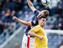 Falkirk's Peter Grant and Cowdenbeath's Sean Higgins.<br /> Falkirk 6 v 0 Cowdenbeath, Scottish Championship game played at The Falkirk Stadium, 25/10/2014.