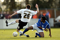 Photo: Olly Greenwood/Sportsbeat Images.<br />Billericay Town v Swansea City. The FA Cup. 10/11/2007. Billericay's Wayne Semanshia tacklesd Swansea's Paul Anderson
