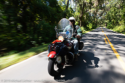 Jerry Wieland riding his 1941 Harley-Davidson FL Knucklehead bagger in the Cross Country Chase motorcycle endurance run from Sault Sainte Marie, MI to Key West, FL. (for vintage bikes from 1930-1948). Stage-7 covered 249 miles from Macon, GA to Tallahassee, FL USA. Thursday, September 12, 2019. Photography ©2019 Michael Lichter.