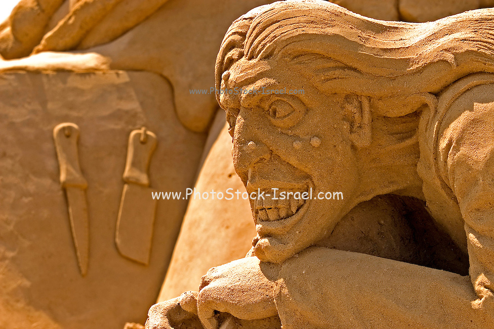 Old witch Sand sculpture festival on the Haifa beach, July 2006