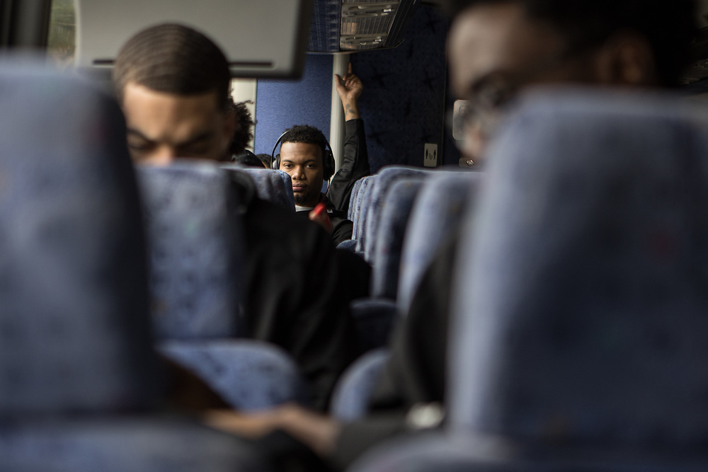 Houston, Texas - March 10, 2017: Ty Bynum rides the team bus to the Toyota Center in Houston before a SWAC Tournament semifinal game. The Texas Southern Tigers beat the Grambling State Tigers in the semifinals of the SWAC Tournament. (Michael Starghill, Jr. for The Undefeated)