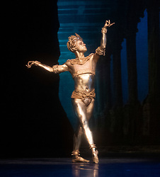 La Bayadere <br /> A ballet in three acts <br /> Choreography by Natalia Makarova <br /> After Marius Petipa <br /> The Royal Ballet <br /> At The Royal Opera House, Covent Garden, London, Great Britain <br /> General Rehearsal <br /> 30th October 2018 <br /> <br /> STRICT EMBARGO ON PICTURES UNTIL 2230HRS ON THURSDAY 1ST NOVEMBER 2018 <br /> <br /> <br /> Alexander Campbell - the Bronze idol <br /> <br /> Photograph by Elliott Franks Royal Ballet's Live Cinema Season - La Bayadere is being screened in cinemas around the world on Tuesday 13th November 2018 <br /> --------------------------------------------------------------------