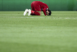 October 24, 2018 - Liverpool, England, United Kingdom - Liverpool forward Mohamed Salah (11) prays after scoring his goal during the Uefa Champions League Group Stage football match n.3 LIVERPOOL - CRVENA ZVEZDA on 24/10/2018 at the Anfield Road in Liverpool, England. (Credit Image: © Matteo Bottanelli/NurPhoto via ZUMA Press)