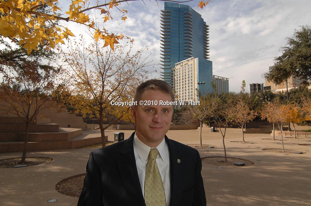 Fort Worth city councilman, Joel Burns, in the Fort Worth Water Gardens. ROBERT W. HART/Special Contributor