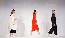 © Licensed to London News Pictures. 01/06/2015. London, UK. Collection by Maria Do Mar Zhan. Fashion show of the University of Brighton at Graduate Fashion Week 2015. Graduate Fashion Week takes place from 30 May to 2 June 2015 at the Old Truman Brewery, Brick Lane. Photo credit : Bettina Strenske/LNP