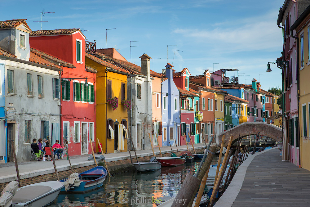 Canals in Burano.Venice, Italy