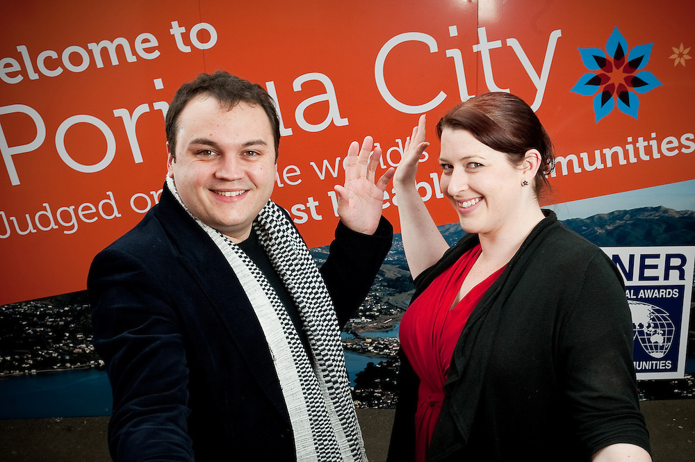 """Porirua Mayor Nick Leggett and Chamber of commerce CE Holly Thompson to illustrate the partnership and co-operation they have for """"Mayoral Porirua Showcase"""" event publication. Friday July 22, 2011...Photo by Mark Tantrum 