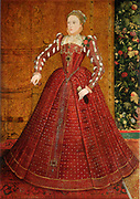 Elizabeth I (1533-1603) queen of England and Ireland from 1558. Hampden portrait. Full length portrait of the young queen. Oil on canvas mid to late 1660s.