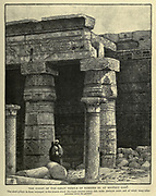 THE COURT OF THE GREAT TEMPLE OF RAMESES III. AT MEDINET HABU. The short pillars in front belonged to the church which the Copts erected within this noble peristyle court, and of which many other columns strew the ground Wood engraving from 'Picturesque Palestine, Sinai and Egypt' by Wilson, Charles William, Sir, 1836-1905; Lane-Poole, Stanley, 1854-1931 Volume 4. Published in 1884 by J. S. Virtue and Co, London