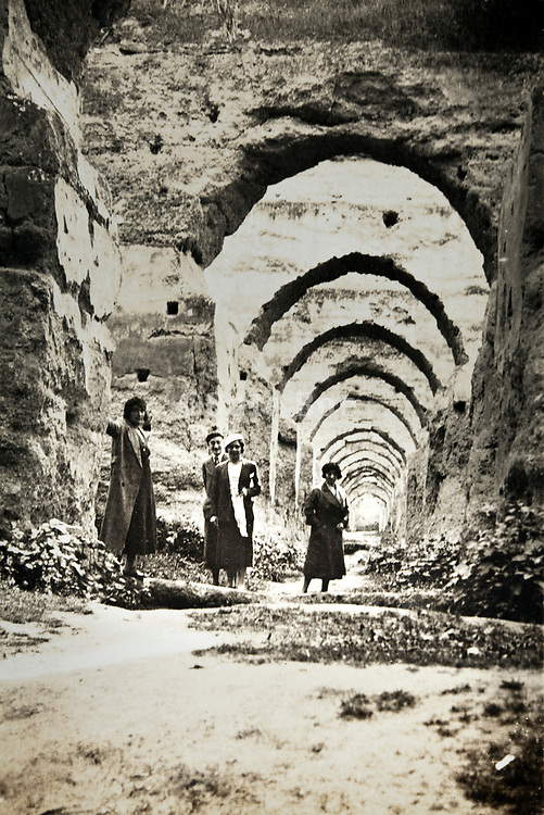 ancient architecture ruin with western people near Rabat Morocco 1930s