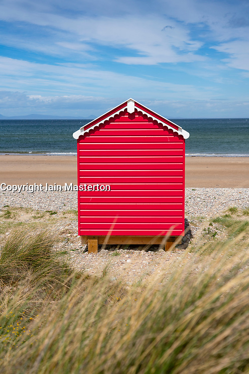Redbeach hut on beach at Findhorn in Moray, Morayshire, Scotland, UK