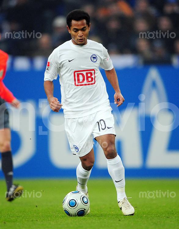 FUSSBALL   1. BUNDESLIGA   SAISON 2008/2009   16. SPIELTAG FC Schalke 04 - Hertha BSC Berlin                           06.12.2008 RAFFAEL (Hertha BSC Berlin) Einzelaktion am Ball