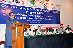 August 17, 2017 - Pakistan - QUETTA, PAKISTAN, AUG 17: Balochistan Health Minister, Mir Rehmat Saleh Baloch .addresses during Orientation Meeting of Maternal and Child Survival Program (MCSP) .organized by United States Agency for International Development (USAID) held at local .hotel in Quetta on Thursday, August 17, 2017. (Credit Image: © PPI via ZUMA Wire)