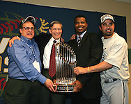 HOUSTON - OCTOBER 26:  Baseball Commissioner Bud Selig presents the World Series trophy to White Sox Chariman Jerry Reinsdorf, General Manager Ken Williams and Manager Ozzie Guillen after Game 4 of the 2005 World Series against the Houston Astros at Minute Maid Park on October 26, 2005 in Chicago, Illinois.  The White Sox defeated the Astros 1-0 to sweep the Astros and give the White Sox their first World Championship title in 88 years.