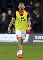 Blackpool's Jay Spearing during the pre-match warm-up <br /> <br /> Photographer David Shipman/CameraSport<br /> <br /> The EFL Sky Bet League One - Luton Town v Blackpool - Saturday 6th April 2019 - Kenilworth Road - Luton<br /> <br /> World Copyright © 2019 CameraSport. All rights reserved. 43 Linden Ave. Countesthorpe. Leicester. England. LE8 5PG - Tel: +44 (0) 116 277 4147 - admin@camerasport.com - www.camerasport.com