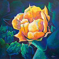 For a brief few weeks, the desert erupts in colors as the cacti bloom.  This yellow prickly pear flower shows off its radiance.<br /> 40 x 40, oil on canvas.<br /> For more information, please call 480-483-5663
