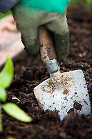 using a trowel to prepare a vegetable patch