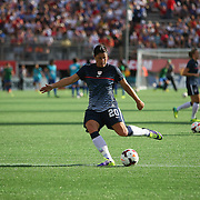 U.S. forward Abby Wambach (20) kicks the ball toward the goal prior to  a women's soccer International friendly match between Brazil and the United States National Team, at the Florida Citrus Bowl  on Sunday, November 10, 2013 in Orlando, Florida. The U.S won the game by a score of 4-1.  (AP Photo/Alex Menendez)