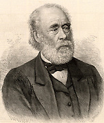 Joseph Whitworth (1803-1887) British engineer, inventor and entrepreneur.  In 1841 he introduced a standardized a system for screw threads which became the British Standard.  Engraving from 'The Illustrated London News' (London, 5 February 1887).