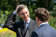 Jacob Rees-Mogg MP and Chairman of the European Research Group being interviewed on College Green following the announcment that Boris Johnson is the new Conservative leader and Prime Minister, on July 23, 2019 in London, England.
