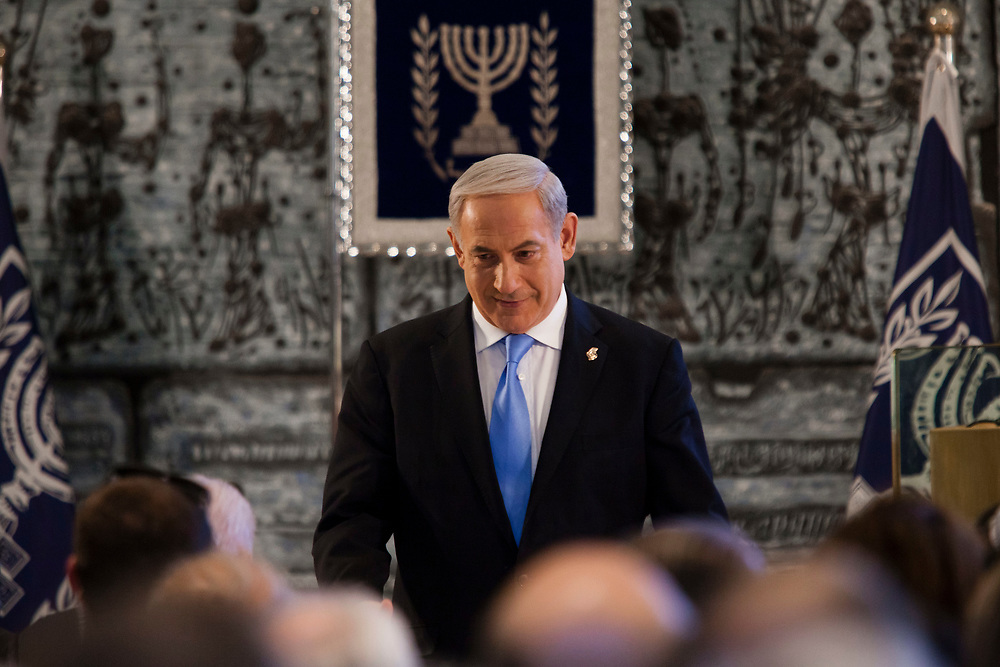 Israel's Prime Minister Benjamin Netanyahu attends an annual reception for members of the diplomatic corps in Israel, part of the celebrations for Israel's Independence Day marking the 65th anniversary of the creation of the Jewish state, at the President's Residence in Jerusalem, on April 16, 2013.