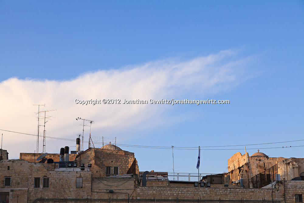 Stone rooftops next to the Western Wall in the Old City of Jerusalem. WATERMARKS WILL NOT APPEAR ON PRINTS OR LICENSED IMAGES.