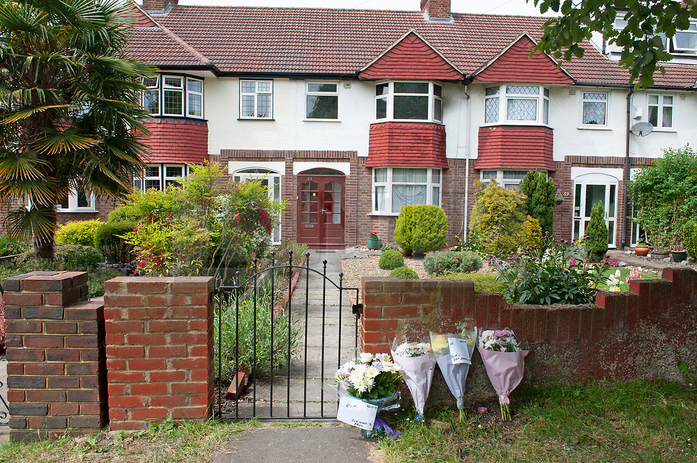 © Licensed to London News Pictures. 29/05/2019.<br /> Orpington,UK. Flowers have been placed at the scene of a fatal fire in which a 45 year old mother lost her life on Monday night, her husband is in hospital fighting for his life while two children escaped the family home with non-life-threatening injuries. The house fire in Cray Avenue, Orpington, South East London, is being investigated by Met police and London Fire Brigade. Photo credit: Grant Falvey/LNP