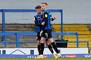 GOAL. (1-1) Rochdale AFC Midfielder Alex Newby (10) scores for Rochdale AFC and celebrates with Rochdale AFC Forward Jake Beesley (11) during the EFL Sky Bet League 1 match between Rochdale and Bristol Rovers at the Crown Oil Arena, Rochdale, England on 31 October 2020.