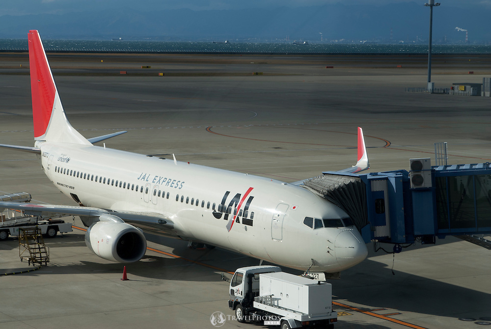A Japan Airlines Boeing 737 at Chubu Centrair (Nagoya International Airport). (Please be warned, this image has a slight window reflection on it).