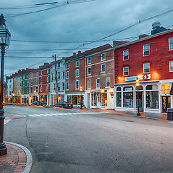 Storefronts on Market Street in downtown Portsmouth, New Hampshire. HDR.