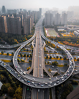Aerial view of a flyover in Chengdu, China, during rush hour