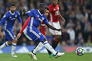 GOAL  : Ngolo Kante of Chelsea shoots to score his sides 4th goal. Premier league match, Chelsea v Manchester Utd at Stamford Bridge in London on Sunday 23rd October 2016.<br /> pic by John Patrick Fletcher, Andrew Orchard sports photography.