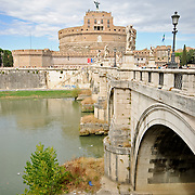 ROME, Italy - A shot of the historic jail, the Castel Sant' Angelo, from across the Tiber River in Rome, ITaly