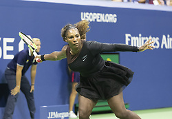 September 4, 2018 - New York, New York, United States - Serena Williams of USA returns ball during US Open 2018 quarterfinal match against Karolina Pliskova of Czech Republic at USTA Billie Jean King National Tennis Center (Credit Image: © Lev Radin/Pacific Press via ZUMA Wire)