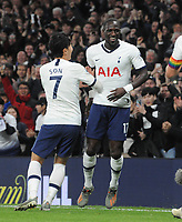 Football - 2019 / 2020 Premier League - Tottenham Hotspur vs. Burnley<br /> <br /> Moussa Sissoko of Spurs celebrates scoring goal no 5 with Heung - Min Son at the Tottenham Hotspur Stadium.<br /> <br /> COLORSPORT/ANDREW COWIE