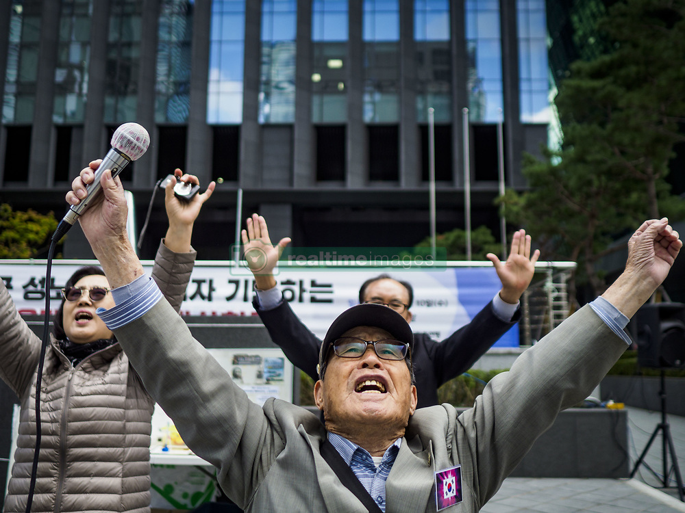 October 10, 2018 - Seoul, Gyeonggi, South Korea - South Koreans shout towards the Japanese Embassy in Seoul during the Wednesday Demonstration to protest Japan's sexual enslavement of Korean women during World War II. The Wednesday protests have been taking place since January 1992. (Credit Image: © Jack Kurtz/ZUMA Wire)
