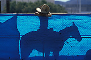 """Even Cowboys Get the Blues"" Mexican cowboy at Mexican rodeo, horseback rests on corral gate covered with blue sheet, Tucson, Arizona.vaquero azul.©1986 Edward McCain/McCain Creative, Inc. All Rights Reserved 520-623-1998"