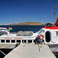 South America, Bolivia, Lake Titicaca. Hydrofoil boat of Lake Titicaca for tourism.