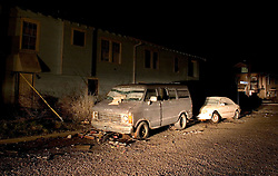 21 December 05. New Orleans, Louisiana. Post Katrina aftermath.<br /> Cars and vans still litter the streets of the devastated Fontain Bleau neighbourhood long after the flood waters from Hurricane Katrina subsided. <br /> Photo; ©Charlie Varley/varleypix.com