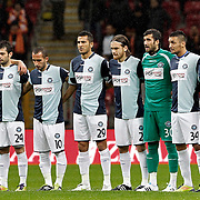 AdanaDemirspor's players (Left to Right) Tunay Acar, Burak Keskin, Lutfi Tanil Ozer, Rasit Sevindir, Burhan Coskun, Hakan Vural Kocaslan, goalkeeper Sener Ozcan, Emre Hasan Balci, Ilhan Aydogdu, Soner Ergencay, Ugurtan Cepni during their Turkey Cup matchday 3 soccer match Galatasaray between AdanaDemirspor at the Turk Telekom Arena at Aslantepe in Istanbul Turkey on Tuesday 10 January 2012. Photo by TURKPIX