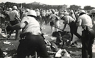 Police storm Grant Park during the 1968 Democratic Convention.  Photo by Dennis Brack